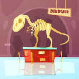 Museum Dinosaur Illustration. Color cartoon illustration of museum exibition about dinosaur vector illustration Stock Images