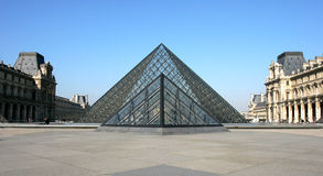 Museum Du Louvre. Panoramic view of Museum Du Louvre in the early morning Stock Photo