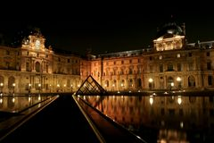 Museum du Louvre in the night Stock Images