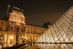 Museum du Louvre in the night Royalty Free Stock Photography