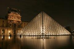 Museum du Louvre in Paris bis zum Nacht lizenzfreie stockfotos