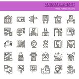 Museum Elements. Thin Line and Pixel Perfect Icons Royalty Free Stock Image