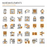 Museum Elements. Thin Line and Pixel Perfect Icons Stock Image