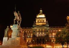 Museum en Wenceslas bij nacht Royalty-vrije Stock Fotografie