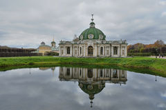 Museum-estate Kuskovo.The pavilion reflected in the water stock images