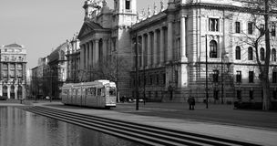 Museum of Ethnography and tram. Black and white picture of Ethnography Museum and historical tram in Budapest Stock Photos
