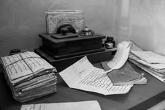 Museum exhibit of an antique clerks desk Royalty Free Stock Photos
