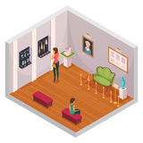 Museum Exhibition Isometric Composition. Exhibition isometric composition representing interior of museum hall with visitors exhibits of furniture and Stock Image