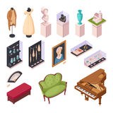 Museum Exhibition Isometric Icons Set. With interior items historical fashion and ancient houseware 3d vector illustration Royalty Free Stock Photography