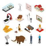 Museum Exhibits Galleries Set Isometric View. Vector Royalty Free Stock Photography