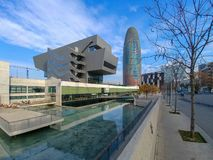 Museum för Barcelona Abgar torndesign royaltyfria foton