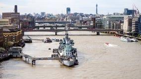 Museum för HMS Belfast på Thames River Arkivbilder