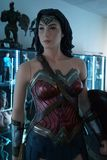 Wonder woman. 14.10.2018 Museum of film legends with statues in Podebrady in the Czech Republic figure Wonder woman stock photos