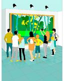 Museum of fine arts background. Illustration of people looking at a landscape in a museum of fine arts Stock Photography