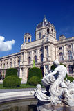 Museum of Fine Arts - Vienna. The Kunsthistorisches Museum (Museum of Fine Arts) at Maria Theresienplatz in Vienna - viewed from the right hand side foutain Stock Image