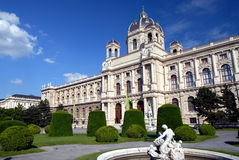Museum of Fine Arts - Vienna. The Kunsthistorisches Museum (Museum of Fine Arts) at Maria Theresienplatz in Vienna - showing some of the gardens in front Royalty Free Stock Images