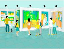 In a museum of fine arts. Visitors in a museum of fine arts looking realistic painting pictures Royalty Free Stock Photos