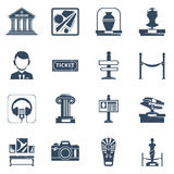 Museum Flat Black Icon Set. Museum flat icon set with black silhouette  symbols of museum interior exhibit and special signs  illustration Royalty Free Stock Images