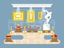Museum flat design. Exhibition sculpture artifact sword picture crown, vector illustration Stock Image