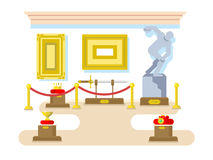 Museum flat design. Exhibition sculpture artifact sword picture crown, vector illustration Stock Photography