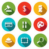 Museum flat icon collection Royalty Free Stock Photos