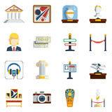 Museum Flat Icon Set. With colored abstract elements like pictures antique vase labels tickets sculptures and others vector illustration Royalty Free Stock Images