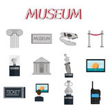 Museum flat icons set. Museum icons flat set of sign canvas barrier isolated vector illustration Stock Images