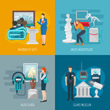 Museum Flat Set. Museum design concept set with audio guide flat icons  vector illustration Stock Photo