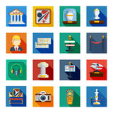 Museum Flat Squared Icon Set Royalty Free Stock Photo