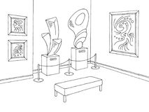 Museum graphic black white interior sketch illustration vector. Museum graphic black white interior sketch illustration Stock Photos