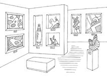 Museum graphic black white interior sketch illustration vector. Museum graphic black white interior sketch illustration