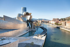 Museum Guggenheim of Bilbao, Spain. Bilbao, Spain-December 23, 2012: Nervion, River of Bilbao, with the Guggenheim Museum by Frank O. Lehry, and Iberdrola Tower Stock Photography