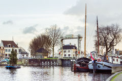 The museum harbor of Gouda Stock Photography