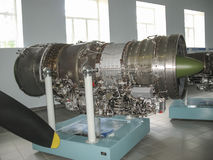 Museum of the history of aircraft engine building. Aircraft engines on stands. Turbine engines and internal combustion engines. Mo stock image