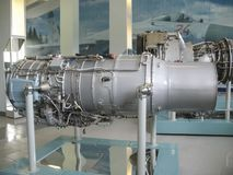 Museum of the history of aircraft engine building. Aircraft engines on stands. Turbine engines and internal combustion engines. Mo royalty free stock photos