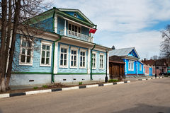 The Museum House of Countess Panina , old blue wooden house with carved patterns. Gorodets, Russia - May 3, 2015: The Museum House of Countess Panina, old blue stock photography