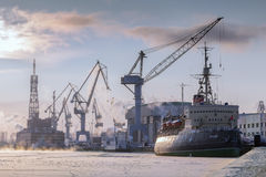 Museum icebreaker Krasin on the river Neva in winter, St. Peters Royalty Free Stock Images