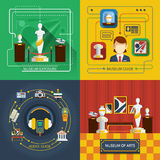 Museum Icon Composition Set. With different aspects of museum life in infographic style vector illustration Royalty Free Stock Photo