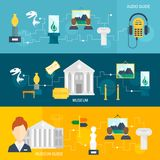 Museum icons banner. Museum audio guide icons horizontal banner set isolated vector illustration Royalty Free Stock Photography
