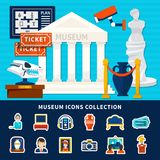 Museum Icons Collection. Of antique exposure caretaker ticket artworks  museum building with title and columns flat vector illustration Stock Photography