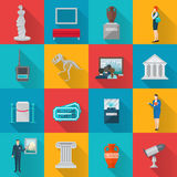 Museum Icons Flat Set Royalty Free Stock Photos