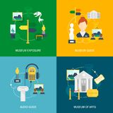 Museum icons flat. Set of exposure audio guide arts isolated vector illustration Royalty Free Stock Images