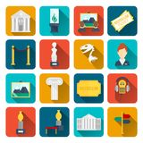 Museum icons flat Stock Photos