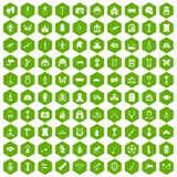 100 museum icons hexagon green. 100 museum icons set in green hexagon isolated vector illustration Royalty Free Stock Image