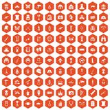 100 museum icons hexagon orange Royalty Free Stock Photos