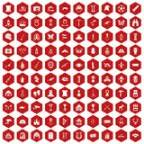 100 museum icons hexagon red. 100 museum icons set in red hexagon isolated vector illustration Vector Illustration