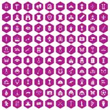 100 museum icons hexagon violet. 100 museum icons set in violet hexagon isolated vector illustration royalty free illustration