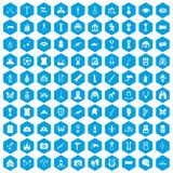 100 museum icons set blue. 100 museum icons set in blue hexagon isolated vector illustration royalty free illustration