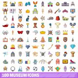 100 museum icons set, cartoon style. 100 museum icons set. Cartoon illustration of 100 museum vector icons isolated on white background Vector Illustration