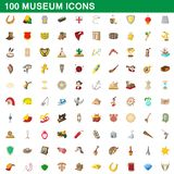 100 museum icons set, cartoon style. 100 museum icons set in cartoon style for any design illustration vector illustration